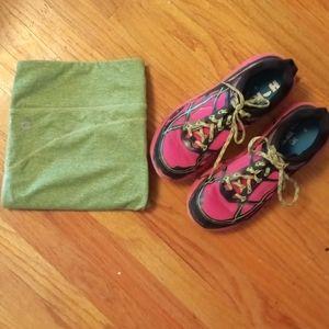 Hoka running shoes super lightweight pink green 7